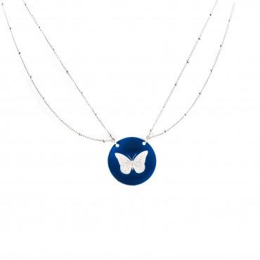 Collier double chaine papillon menthe