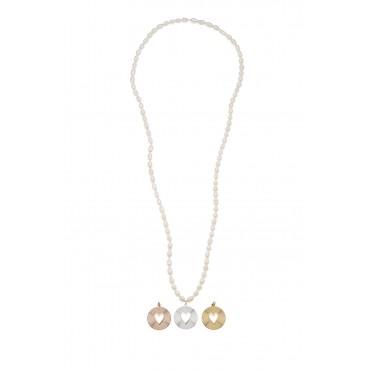 Sautoir Perles d'Eau Douce Médaille Coeur