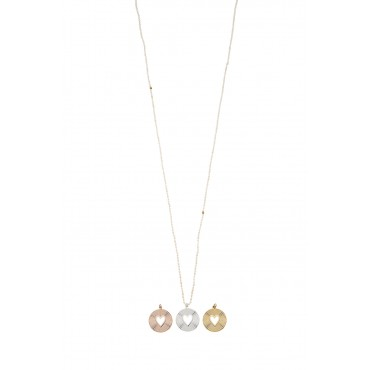 Sautoir Perles Grain de Riz Médaille Coeur