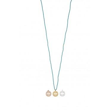 Sautoir Perles Turquoise Médaille Oeil PM