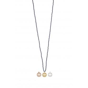 Sautoir Perles Lapis Médaille Oeil PM