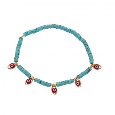 bracelet 5 eyes turquoise