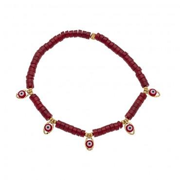 bracelet 5 eyes corail bambou