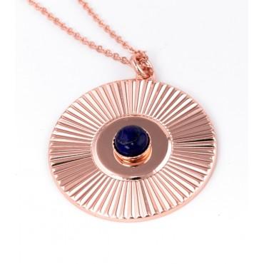 Collier Médaille Soleil Lapis
