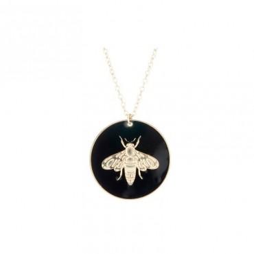 Collier Médaille Abeille Noir