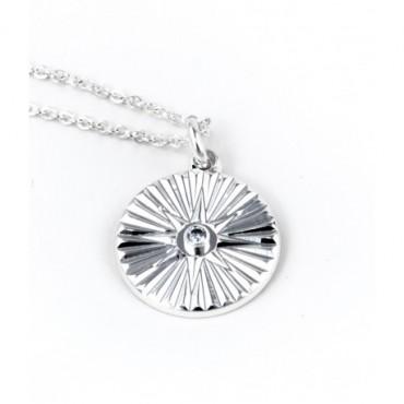 Collier Médaille Soleil Strass
