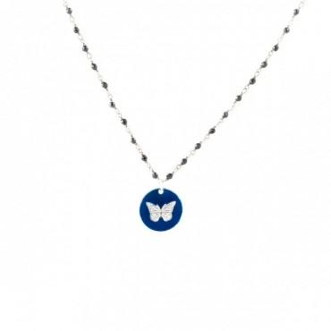 Medaille papillon chaine perle bleu